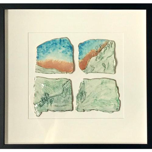 Nicola Briggs Sunset Landscape, gerahmtes Wandstück, Porzellan und Platin 01