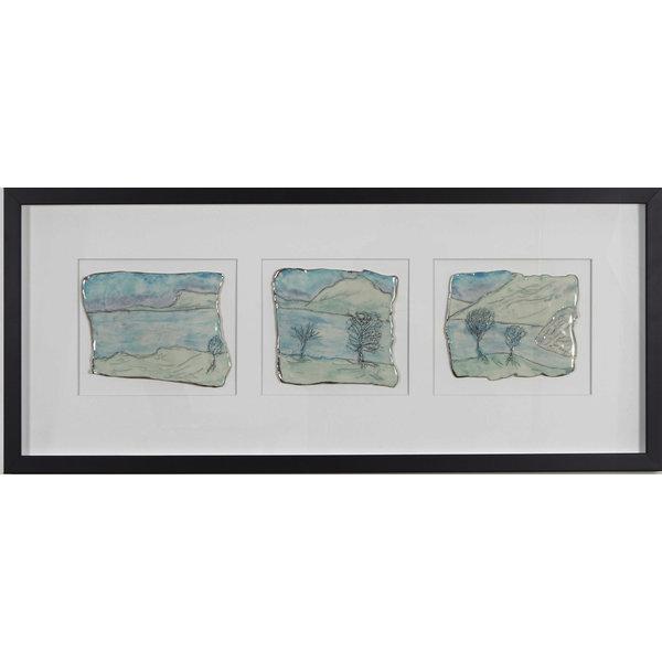Tríptico de porcelana Grassmere y platino enmarcado 03