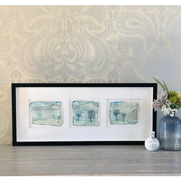 Grassmere Triptychon Porzellan und Platin gerahmt 03