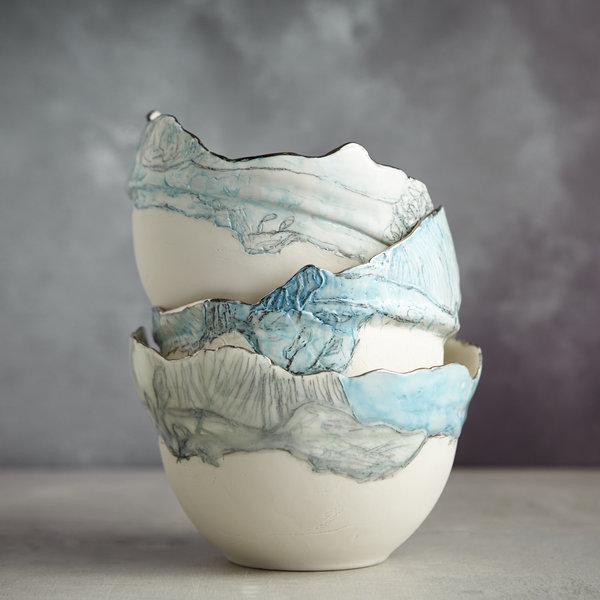 Landscape  Bowl with Blue sky , porcelain and platinum 05
