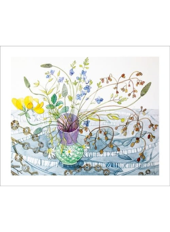Balllindallock Pot. Card by Angie Lewin