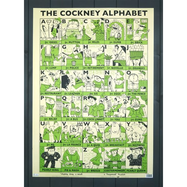 Cockney Alphabet gift wrap by Paul Bommer