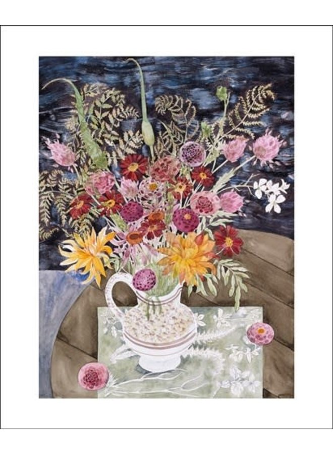 Late Summer Flowers and Ferns. Card by Angie Lewin
