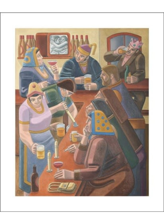 Saturday Night (at the local). Card by William Roberts
