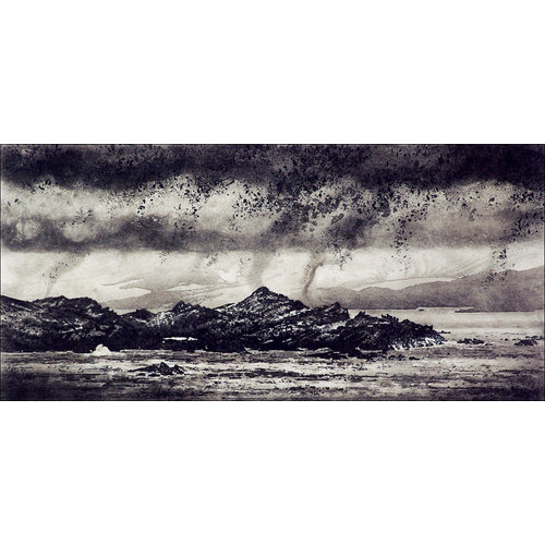 Ian Brooks Low Cloud Over Signy Island - etching  14 framed