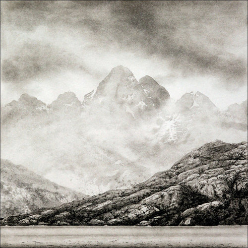 Ian Brooks Riesco Island, Rio Verde, from the Straits of Magellan (overcast) - etching  11 framed