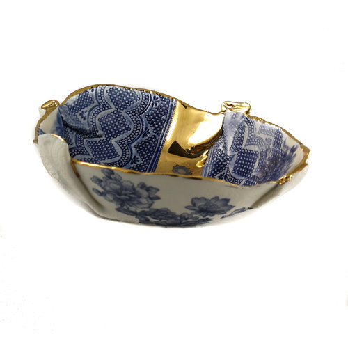 Martha's Grandad Blue and gold Floral Bowl 23
