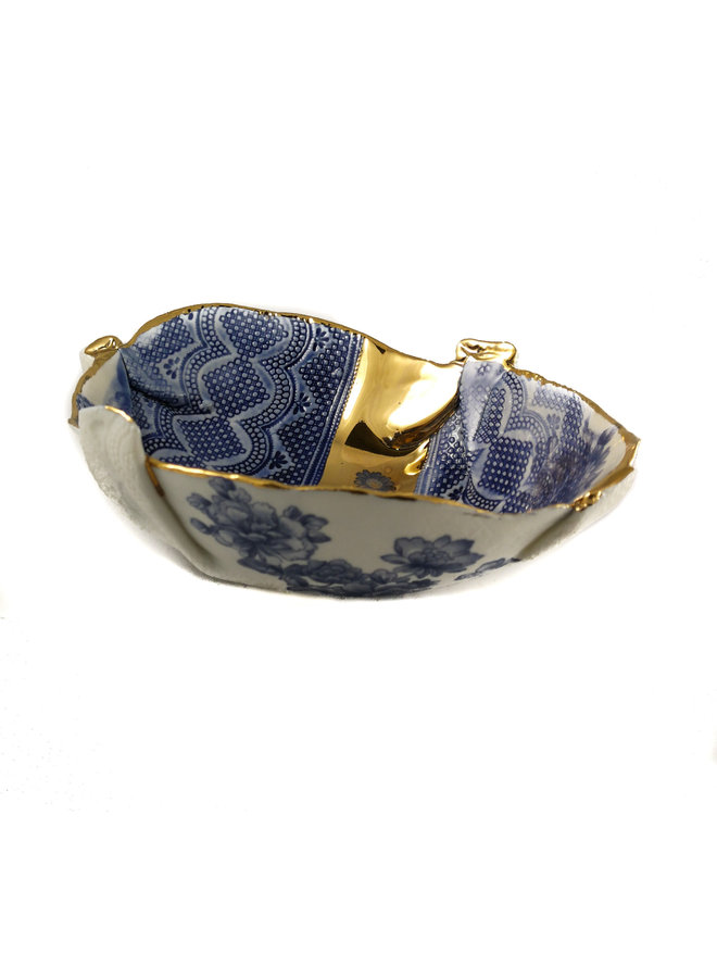 Blue and gold Floral Bowl 23