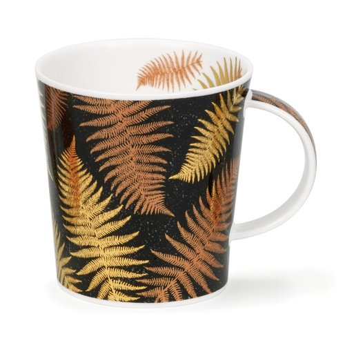 Dunoon Ceramics Ferns Black mug  with copper and gold  by Jane Fern 43