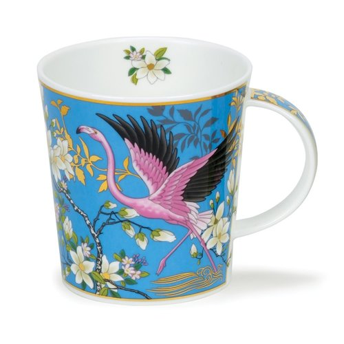Dunoon Ceramics Aisha Blue - Pink Flamingoes de David Broadhurst 40