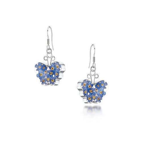 Shrieking Violet Butterfly forgetmenot silver drop earrings  108