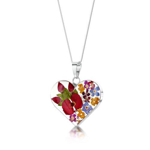Shrieking Violet Heart medium mixed flower silver  necklace 107