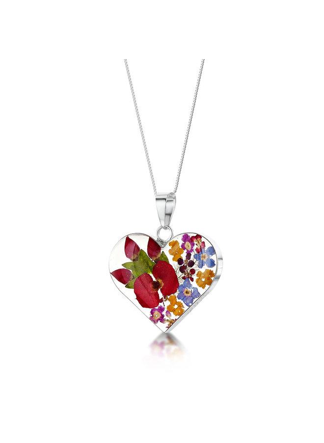 Herz mittlere gemischte Blume Silberkette 107