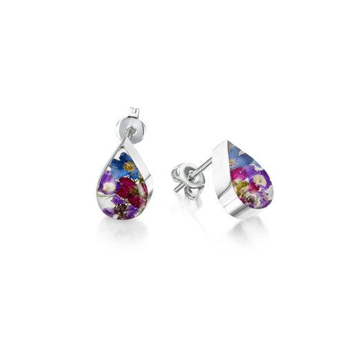 Shrieking Violet Purple Haze teadrop stud earrings silver 110
