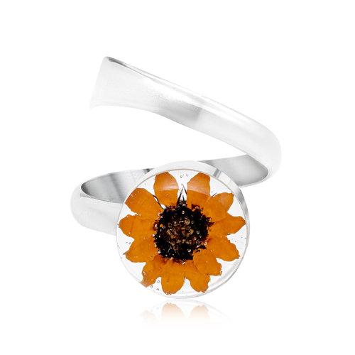 Shrieking Violet Sunflower adjustable ring silver 118