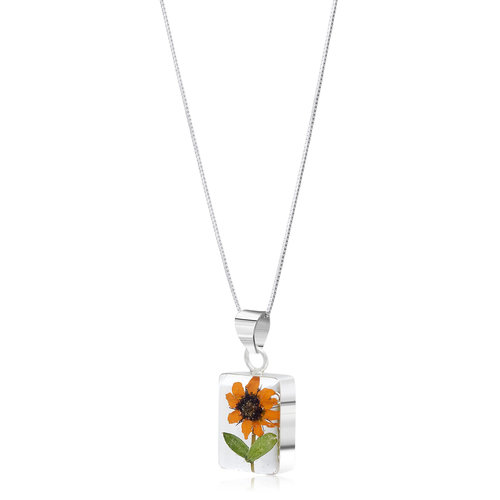 Shrieking Violet Sonnenblumen Rechteck Halskette Silber 112