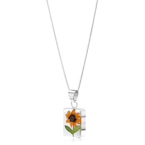 Shrieking Violet Sunflower rectangle necklace silver 112