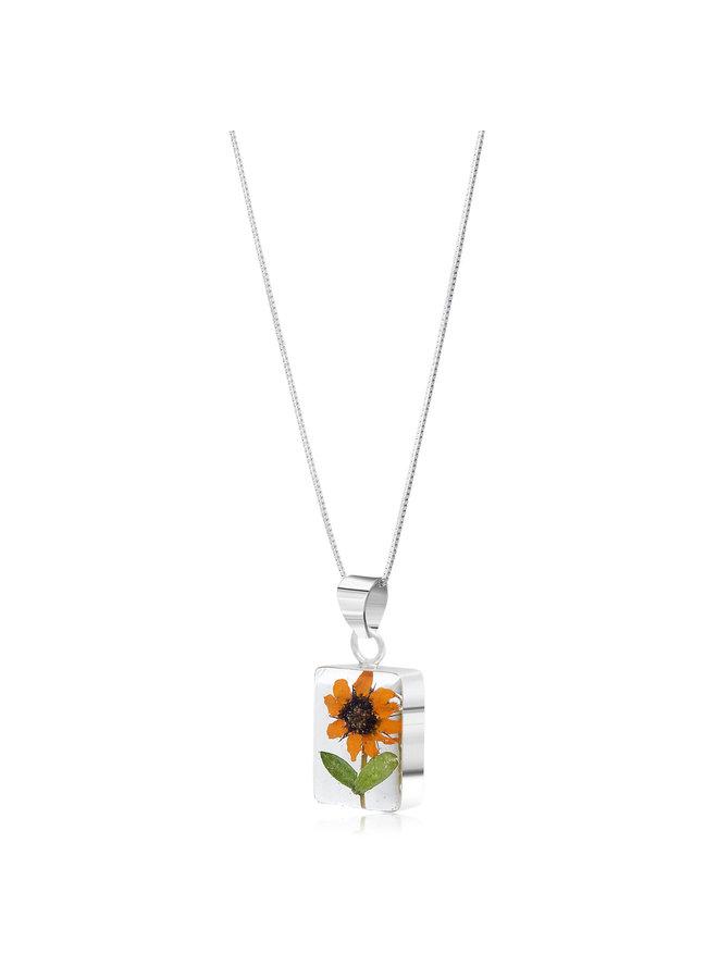 Sonnenblumen Rechteck Halskette Silber 112