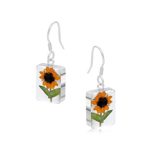 Shrieking Violet Sunflower rectangular drop earrings silver 117