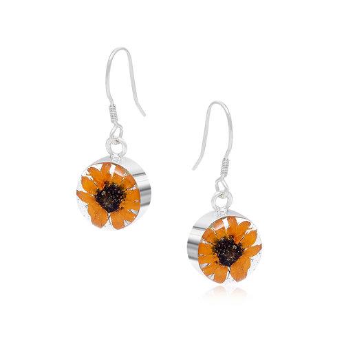 Shrieking Violet Sunflower round drop earrings silver 116