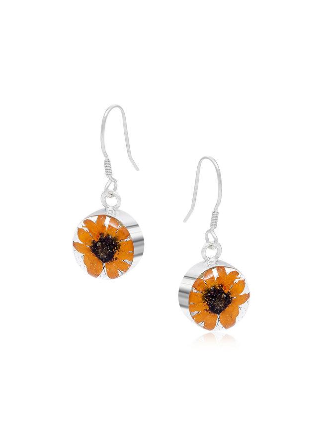 Runde Sonnenblumenohrringe Silber 116