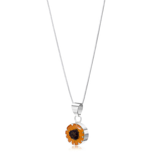 Shrieking Violet Sunflower round necklace silver 113