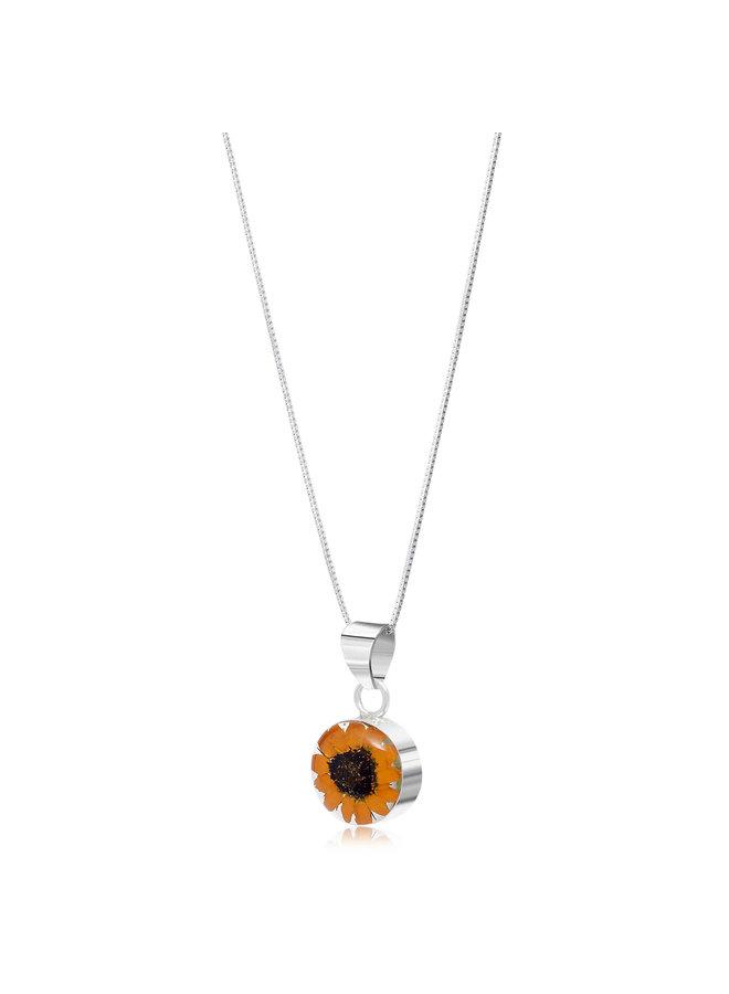 Sunflower round necklace silver 113