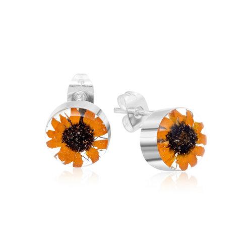 Shrieking Violet Sunflower round stud earrings silver 115