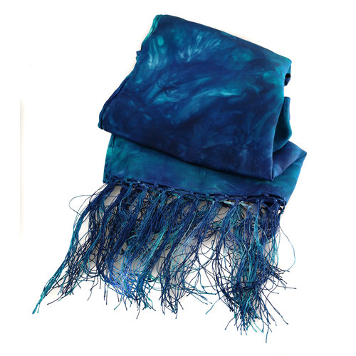 Lady Crow Silks Ocean Crepe de Chine silk fringed scarf  Boxed 92