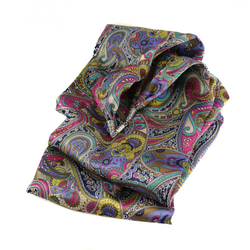 Lady Crow Silks Lila Paisley-Schal aus Satin und Seide mit Magnetverschluss Boxed