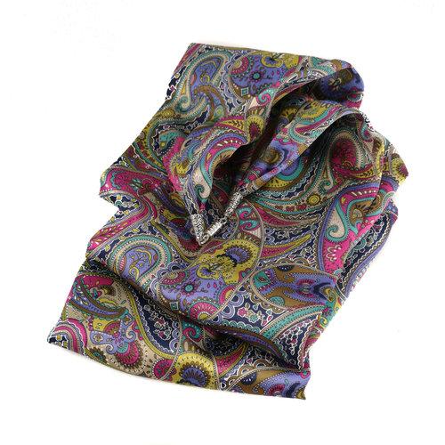 Lady Crow Silks Pañuelo de seda y satén de Paisley púrpura con cierre magnético en caja