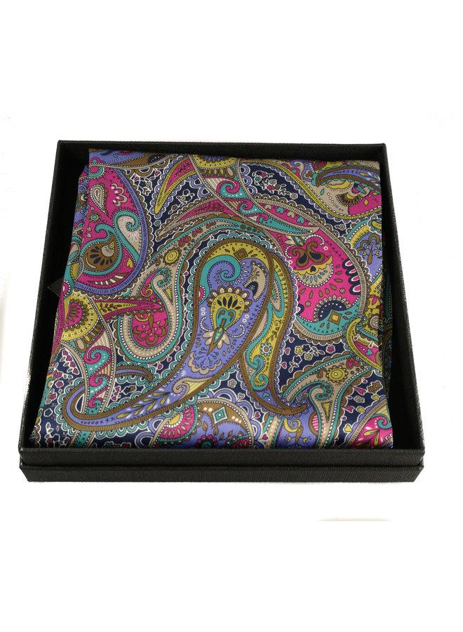 Lila Paisley-Schal aus Satin und Seide mit Magnetverschluss Boxed