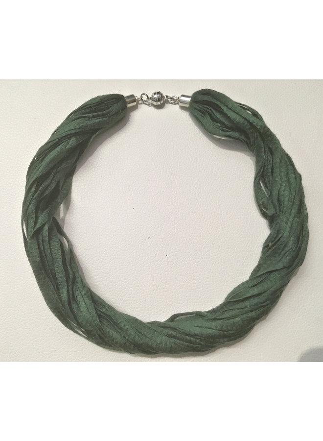 Stoff Eukalyptus Halskette Farn Grün 06