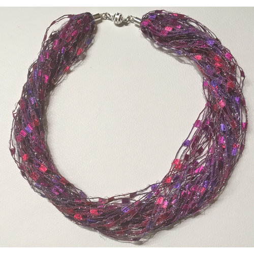 Copper Moor Designs Sparkle Fibre Necklace Fuchsia 15
