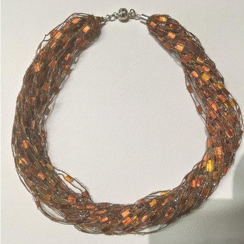Copper Moor Designs Sparkle Fiber Halskette Gold und Kupfer 09