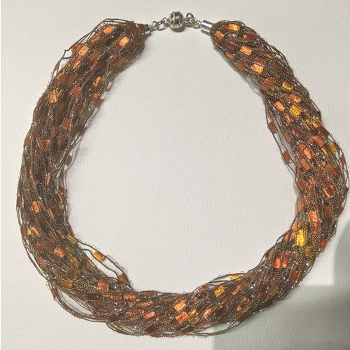 Copper Moor Designs Sparkle Fibre Necklace Gold and Copper  09