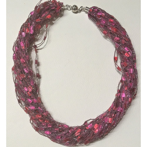 Copper Moor Designs Sparkle Fibre Necklace Raspberry  14