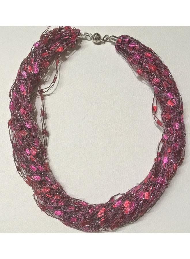 Sparkle Fiber Halskette Himbeere 14