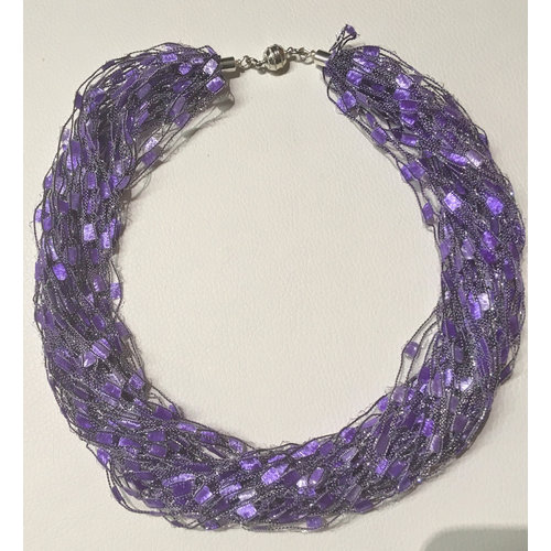 Copper Moor Designs Sparkle Fibre Necklace Violet and Mauve 10