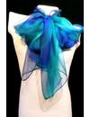 Aqua Gossamer Silk Scarf 40x145cm