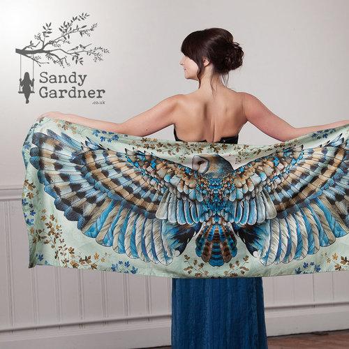 Sandy Gardner Búho ligero abrigo de arte portátil