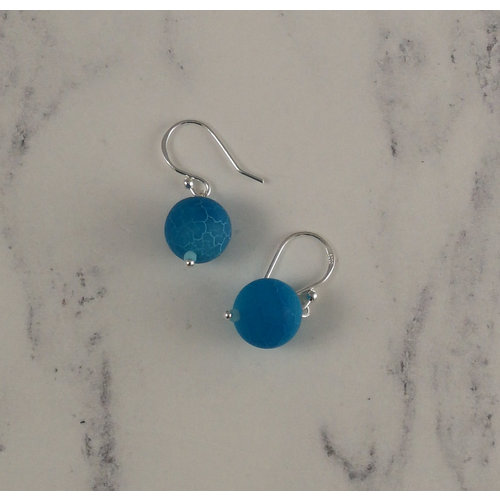 Melissa James Bright blue crackle agate drop earrings 92