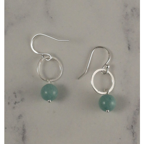Melissa James Jade and silver hoop drop earrings 100