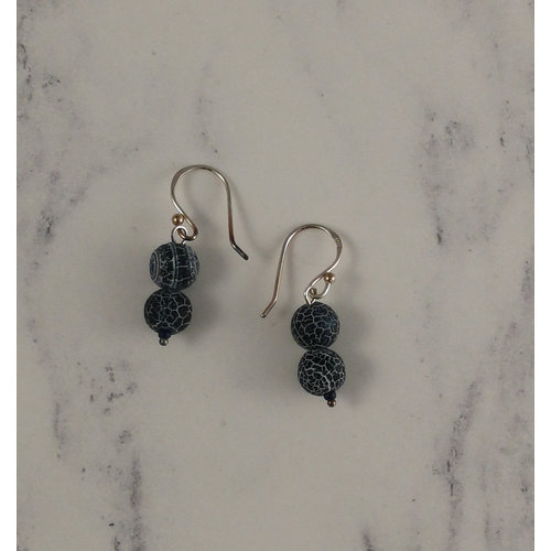 Melissa James Navy crackle agate  drop earrings 95