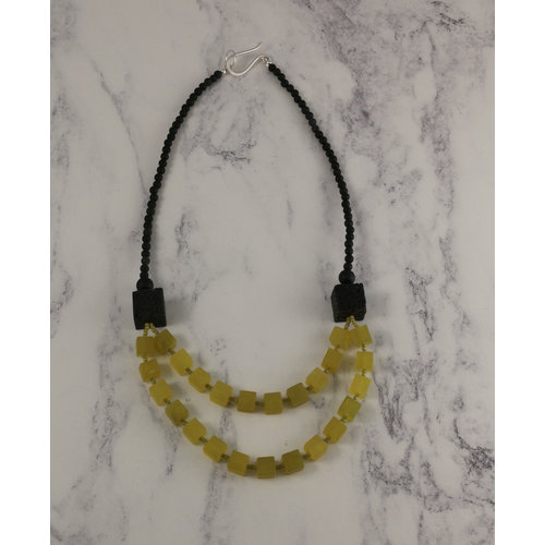 Melissa James Olive Jade cube and lava stone  Necklace 85