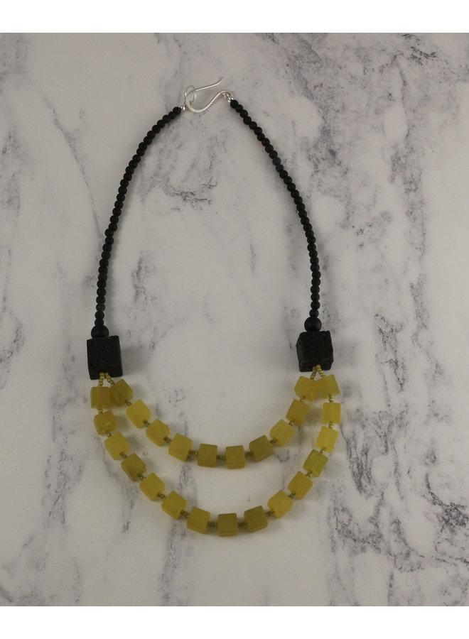 Olive Jade Würfel und Lavastein Halskette 85