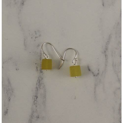 Melissa James Olive jade cube drop earrings 91