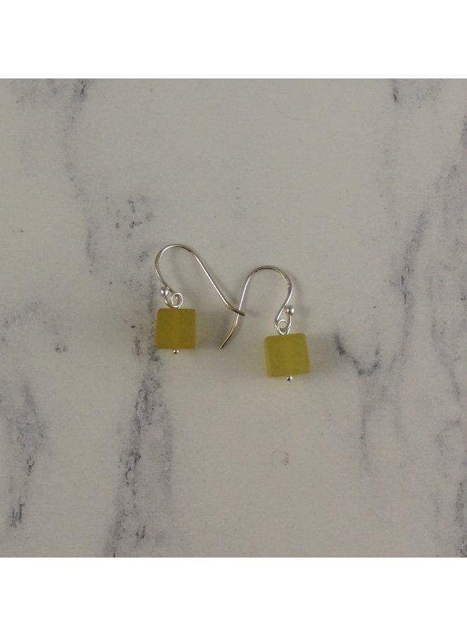 Olive jade cube drop earrings 91