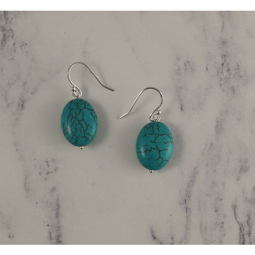 Melissa James Turquoise flat oval  drop earrings 94