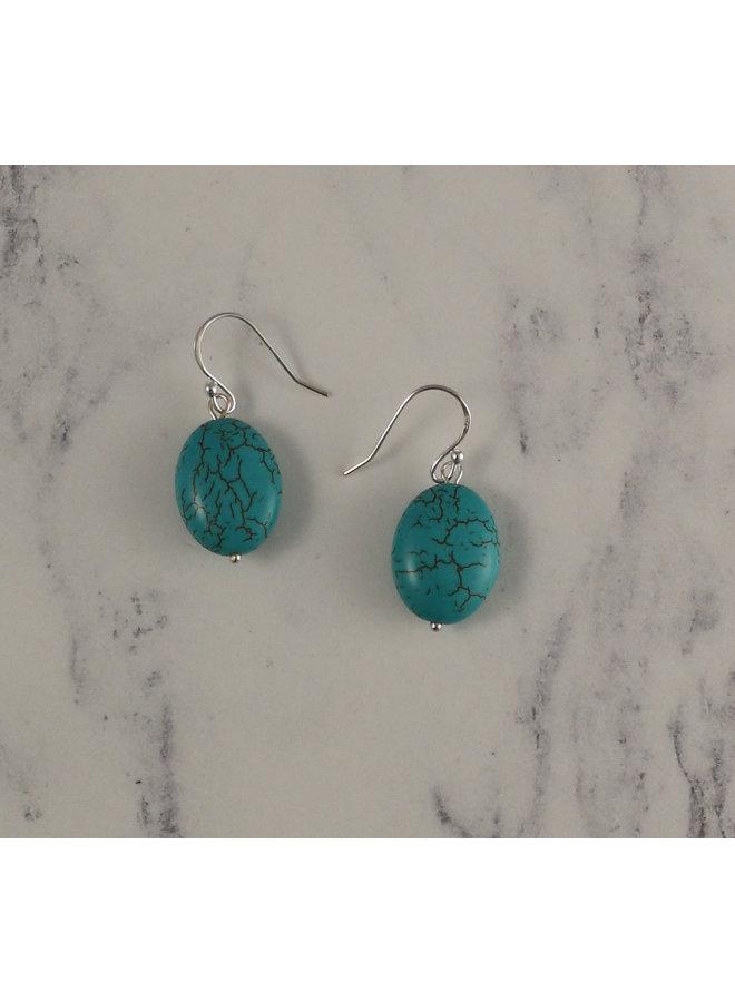 Turquoise flat oval  drop earrings 94